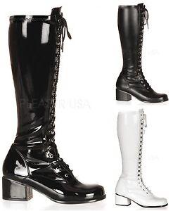 PLEASER FUNTASMA Retro-302 Stretch 70s Disco Fancy Dress Lace-Up Knee Boots