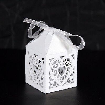 10 Bianco A Doppio Cuore Laser Cut Card Favore Scatole 5 X 5 X 7.5 Cm 2 X 2 X 3 Pollici- Merci Di Alta Qualità