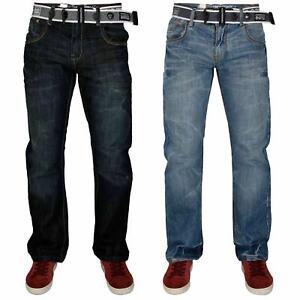 Crosshatch-Hombres-Jeans-de-Calce-Regular-Pierna-Recta-Pantalones-Pantalon-Denim-con-la-correa-libre