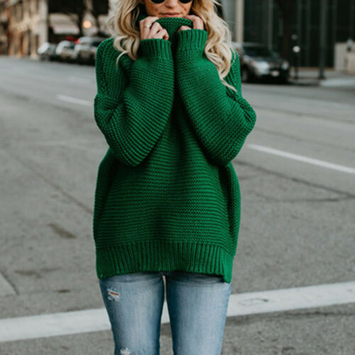 Winter Warm Women Sweater Loose Turtleneck Knitted Pullover Sweater Casual Coat