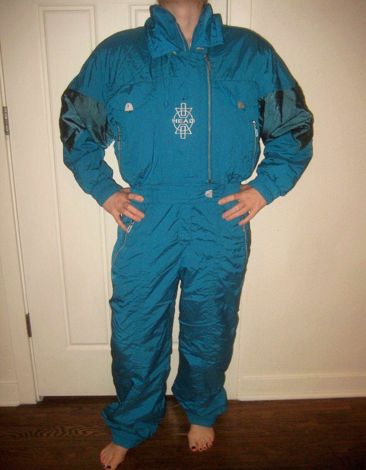 Vtg 80s 90s  HEAD Green Womens 12 P One piece SKI Snow Suit BIB Coat Snowsuit 12P  wholesale cheap
