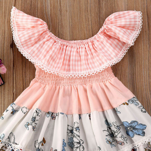 NWT Girls Smocked Pink Floral Tiered Dress 2T 3T 4T 5T Easter