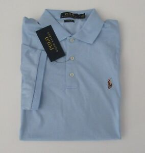 NWT Ralph Lauren Men Classic Fit Soft Touch Blue Knit Polo Shirt M L XL 2XL NEW