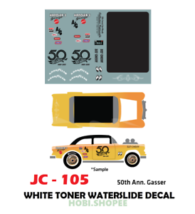 Jc 9105 White Toner Waterslide Decals 50th Gasser For Custom 1 64 Hot Wheels Ebay