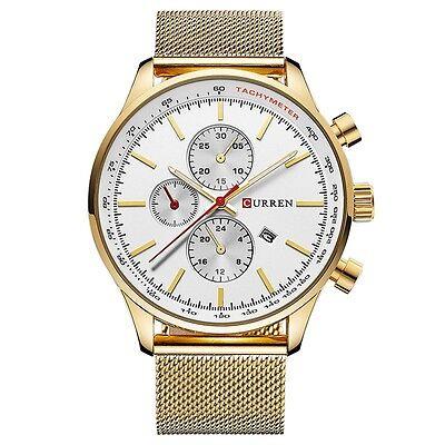 Luxury Men Sports Date Analog Quartz Gold Black Stainless Steel Mesh Wrist Watch