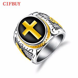 CIFBUY-Punk-Cross-Ringe-Herren-Edelstahl-Stempel-Finger-Bands-Weihnachts-Schmuck