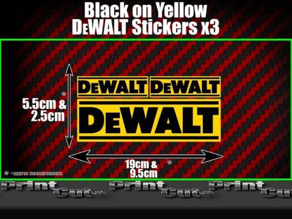 3 Dewalt Stickers Decals Toolbox Tool Box Tool Replacement Builder Black Yellow Aangenaam Voor Het Gehemelte