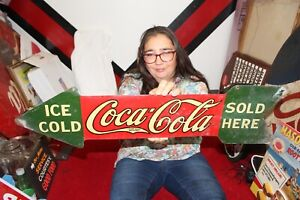 """Rare Vintage 1927 Coca Cola Ice Cold Sold Here Soda Pop 2 Sided 30"""" Metal Sign"""