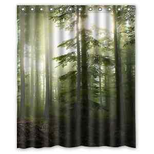 Custom Green Forest Sunshine Waterproof Polyester Bath