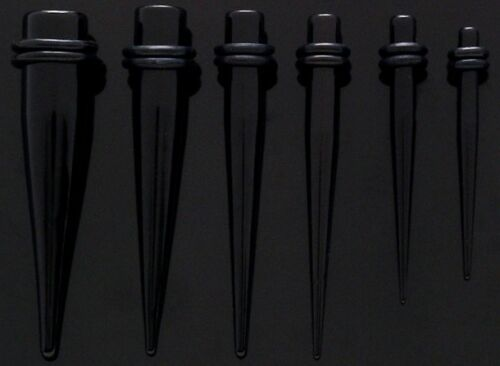 2 NEW Curved Black Acrylic Tapers-Ear Plugs 1 Pair 4g