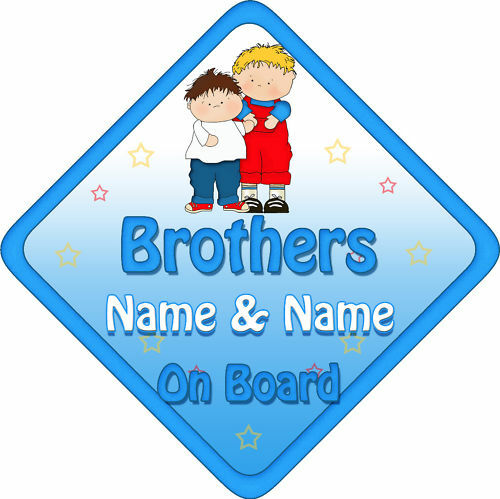B/&R Personalised Baby On Board Car Sign Brothers New