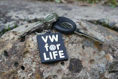 VW For Life black rubber keychain Volkswagen Beetle Golf Bus Jetta