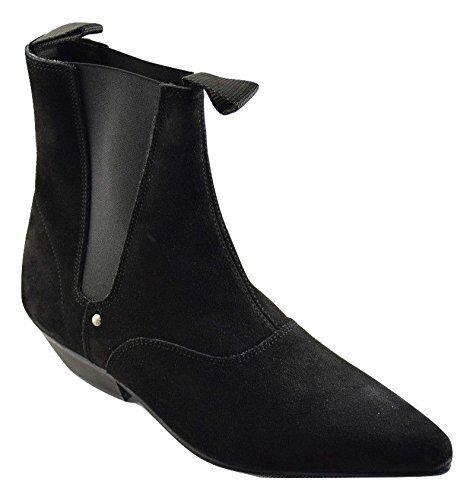 Steel Ground schwarz Suede  Beat Stiefel Cuban Heel Chelsea Ankle Boot Sb0020Z4