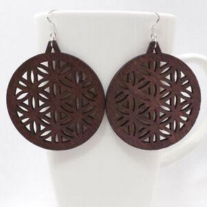 Details About 1 Pair Good Quality Round Hollow Woman Wooden Earrings Pendant 5 5cm 2 E36