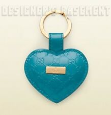 GUCCI turquoise MICROGUCCISSIMA Leather LOGO plate HEART charm KEY Ring NIB Auth