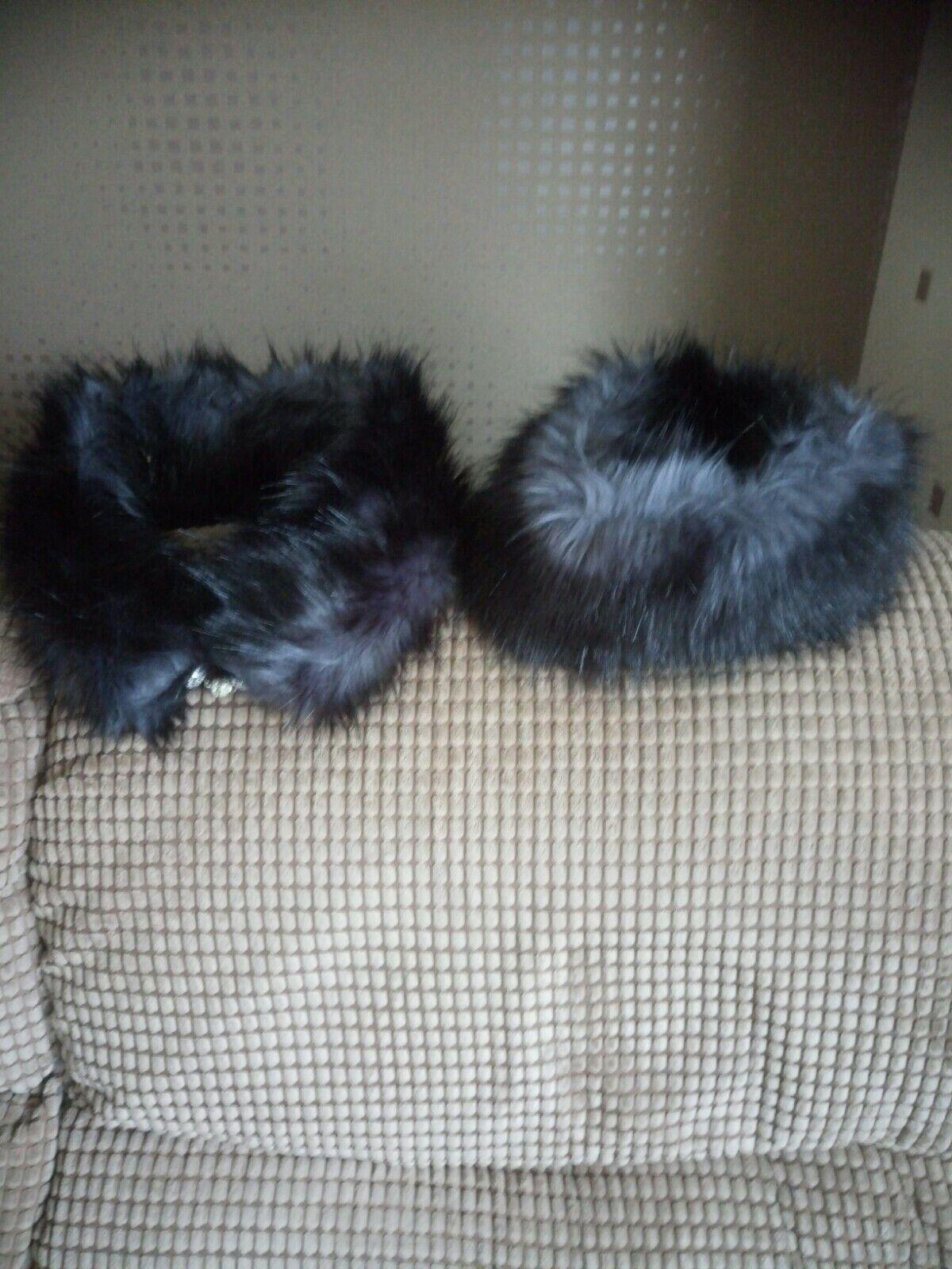 Moira C Black Grey Multi Mix Furlace Collar and matchng Chi Chi Hat NEW