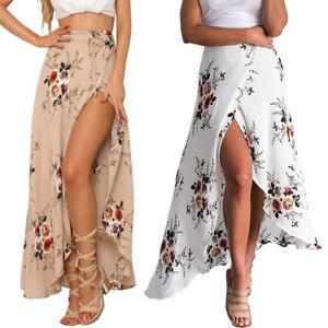 680ba2107a Boho Women Chiffon High Waist Summer Beach Long Maxi Dress Floral ...