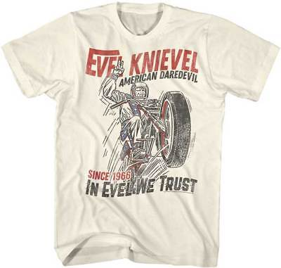 Evel Knievel 1966 American Daredevil In Evel We Trust Licensed Adult T Shirt