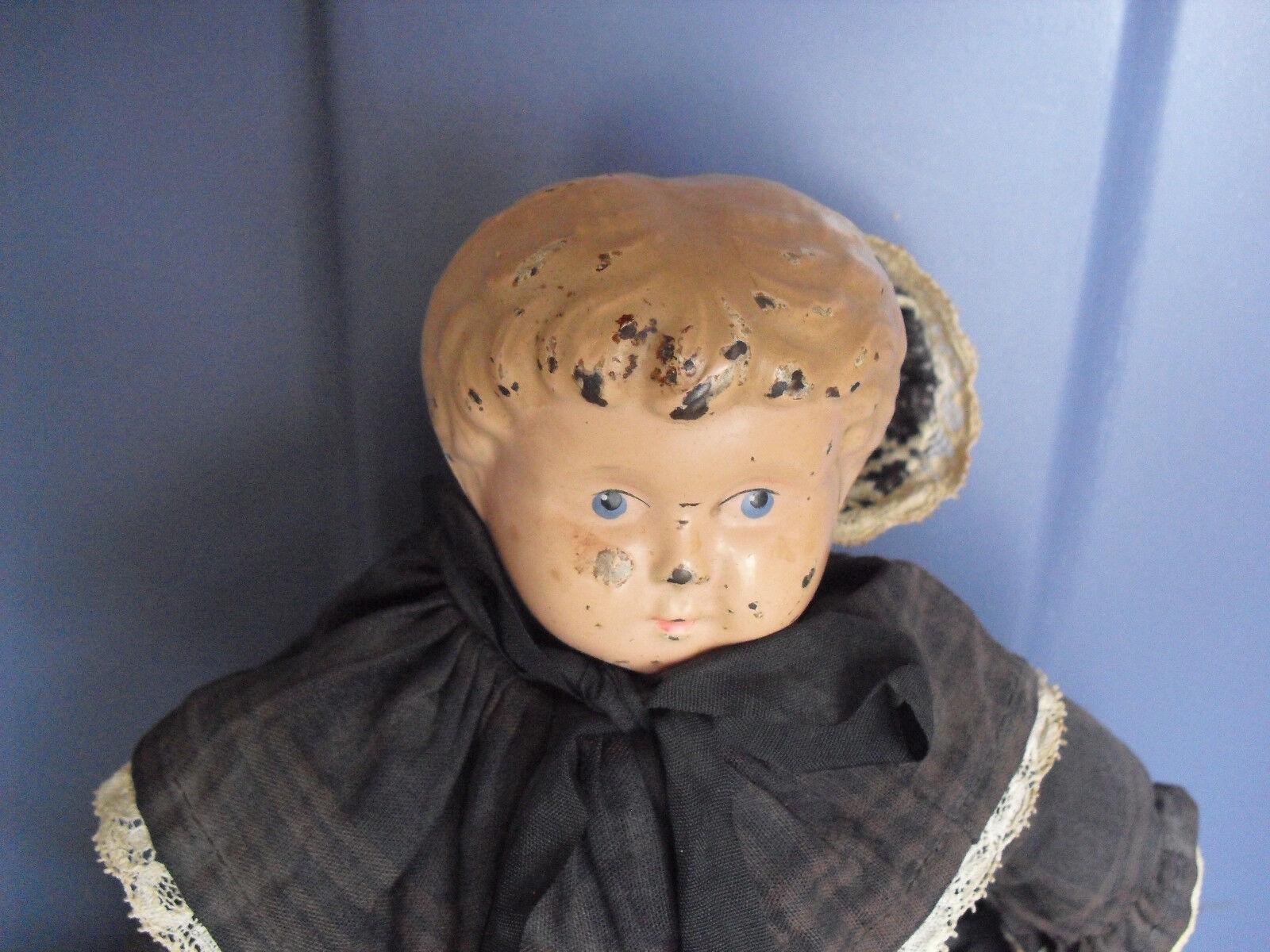 Vintage 1910s Metal Head Minerva 2  Geruomoy Cloth corpo Girl bambola 12  Ttutti  nessun minimo