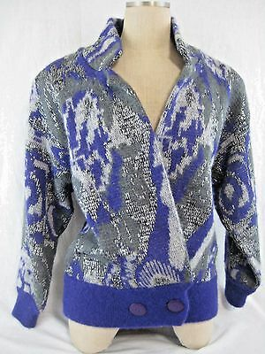 Vintage 80s Mohair Wool Cardigan Sweater Size M Silver Purple