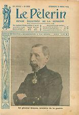 Portrait Général Pierre Auguste Roques Ministre de Guerre WWI 1916 ILLUSTRATION