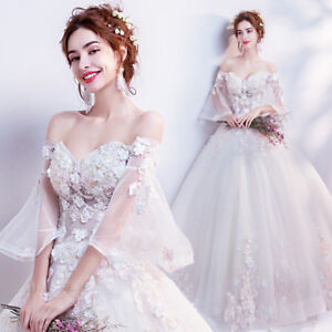 Lace-Flowers-Beaded-Wedding-dress-Bride-gown-Ball-Gown-sleeves-Gift-US-4-16-F036