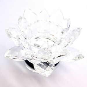 LARGE-CRYSTAL-CUT-LOTUS-ROTATING-ORNAMENT-FLOWER-WITH-GIFT-BOX-CLEAR-COLOUR