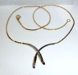 Collier-Kette-14-Kt-585-Gold-Weissgold-2-Diamanten-modernes-Design-wie-neu