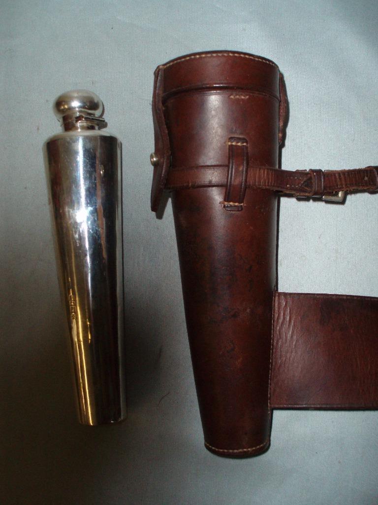 Antiguo Inglés Plata de cuero y contrastados caza matraz. J. Hayes. 1907