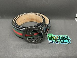 Authentic-Gucci-Black-Green-Red-Signature-Web-Belt-GG-Buckle-95-38-32-34-BGR