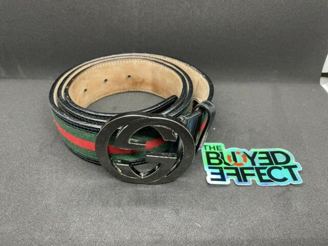 Authentic Gucci Black Green Red Signature Web Belt GG Buckle 95/38 32-34 BGR