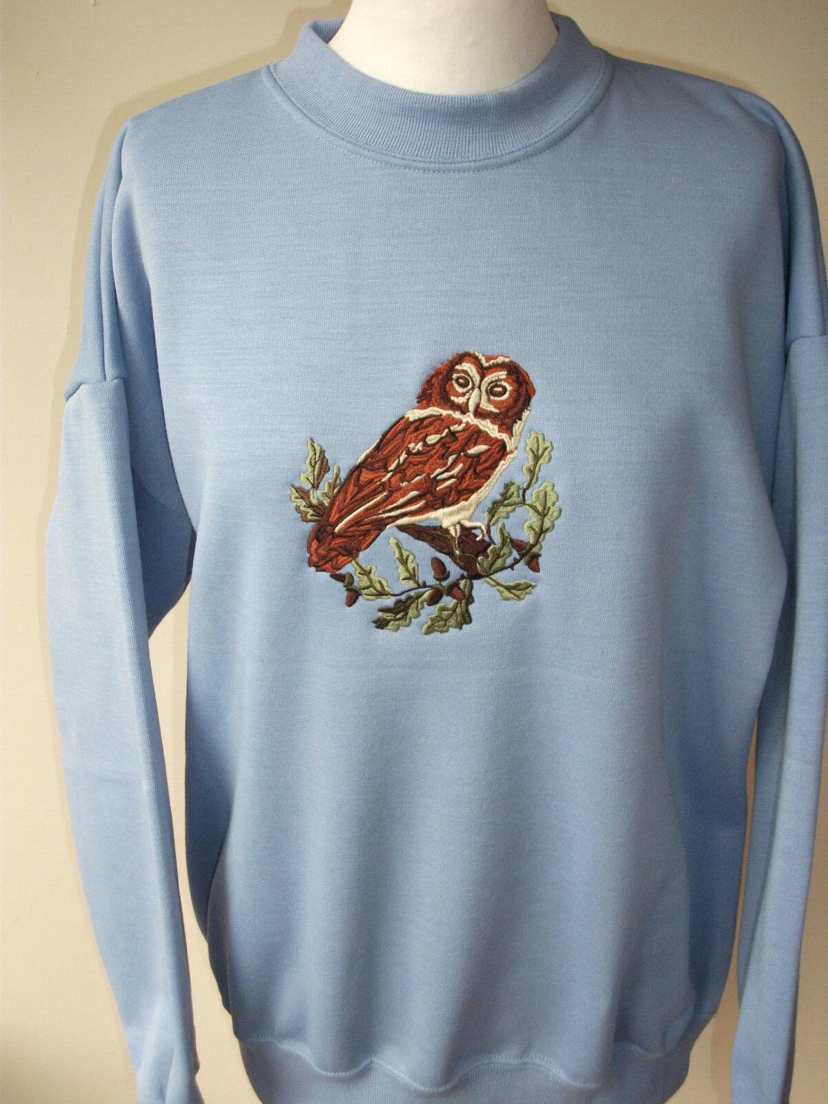 LADIES SWEATSHIRT,JUMPER,TOP WITH AN EMBROIDERED OWL BIRD DESIGN purpleC