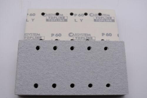 50 feuilles de papier abrasif pour ponceuse orbitale Topline CARSYSTEM 115x230mm k60