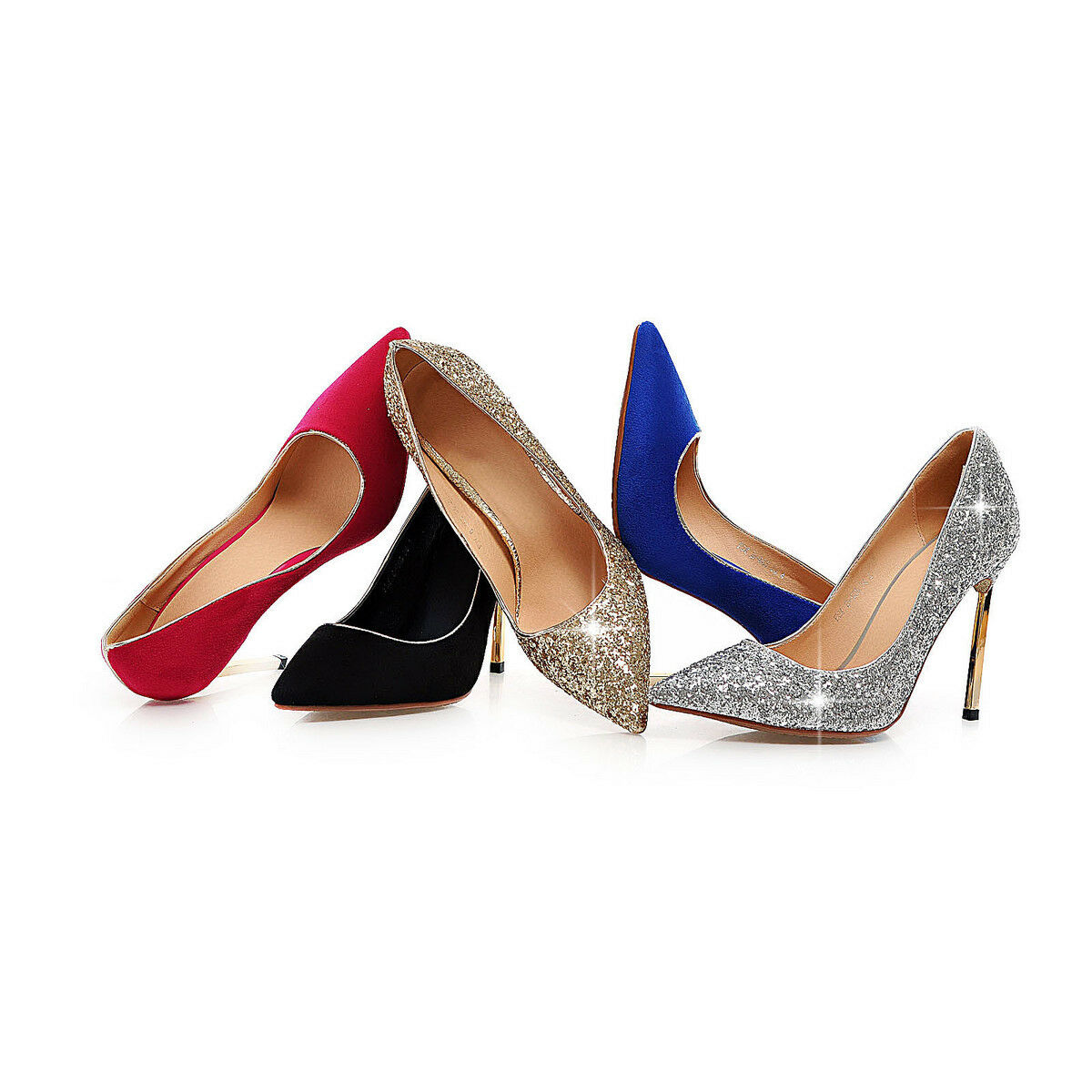 Women's Heels High Heels Women's Pointed Shoes Fashion Shiny Glitter Pumps US Size 2~10.5 D605 8da320