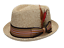 Fedora-Pork-Pie-Straw-Hat-w-Striped-Band-and-Removable-Feather-Summer-Cool-Hat thumbnail 10