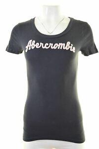 ABERCROMBIE-amp-FITCH-femme-t-shirt-graphique-femme-Taille-12-Bleu-Moyen-NR63