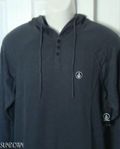Nwt Henley Mens Hoodie Volcom Charcoal Thermal Toasted Raglan Shirt qHqrf
