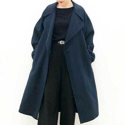 NWT Uniqlo U Wool Double Breasted Belted Double Face Wrap Long Coat Navy XS — L