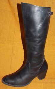 Details zu TAMARIS ECHT LEDER STIEFEL 40 schwarz Reiterstiefel Leather BIKER BOOTS schwarz