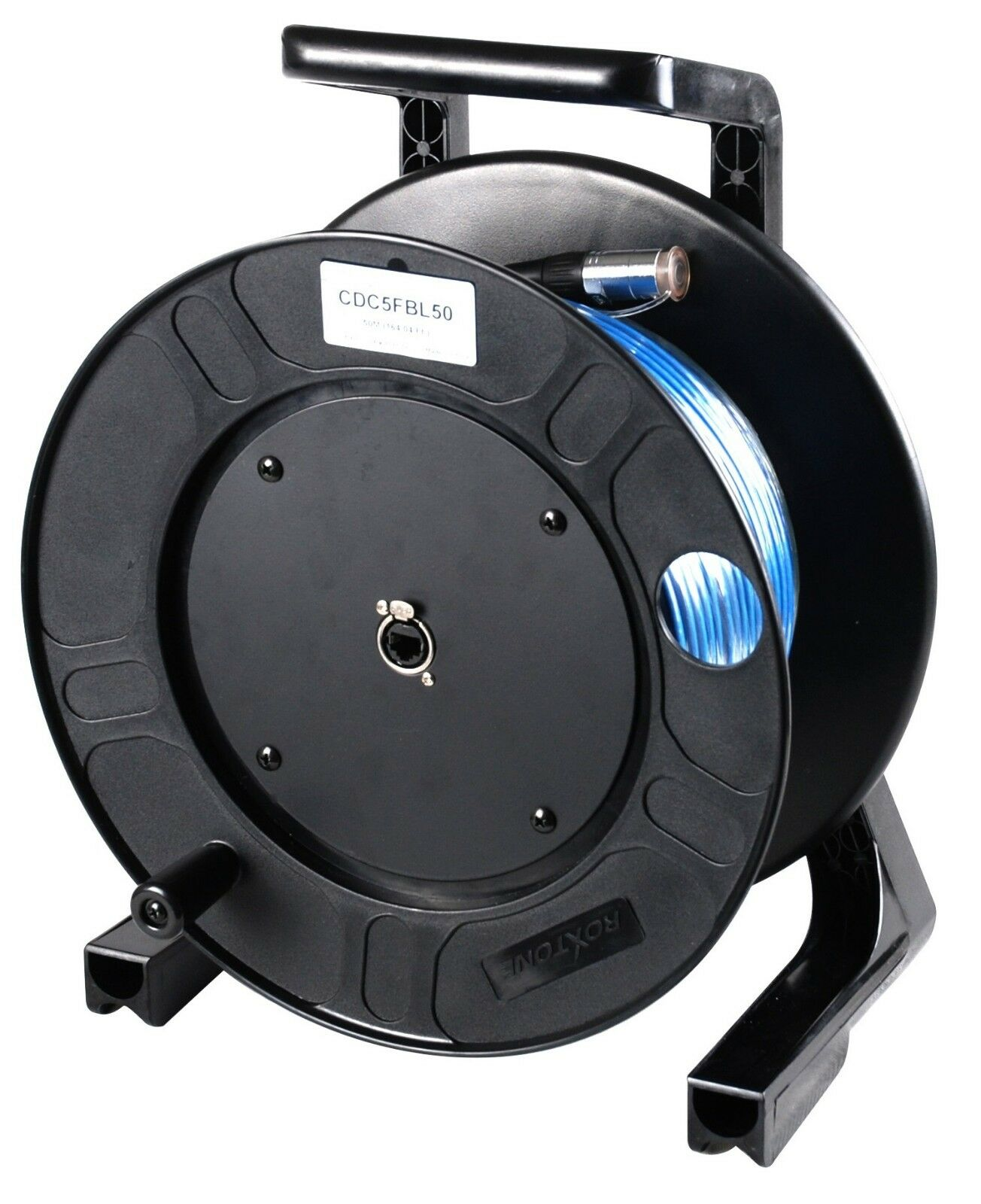 50 Mt (164 Ft.) Shielded EtherCon Cat 5e Cable Reel with EtherCon RJ45 plugs.