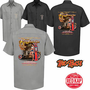 Hotrod 58 Rockabilly Garage Work Shirt Service Rat Rod Vintage Kustom V8 Car 51