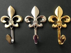 Details About Fleur De Lis Wall Hook Hooks Coat Towel Hanger Gold Silver Antique Bronze Decor