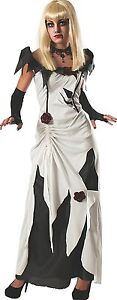 Enchanting-Creeping-Beauty-white-Black-Costume-Rubies-Women-039-s-Scary-Tales-Adult