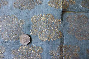 Antique-Italian-Or-French-Renaissance-Blue-Silk-Silver-Metallic-Fabric-11-034-X19-034