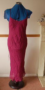 NEW-Sz-8-Coast-Chiffon-Wine-Maroon-Red-Dress-with-Lace-up-Back-Prom-PArty