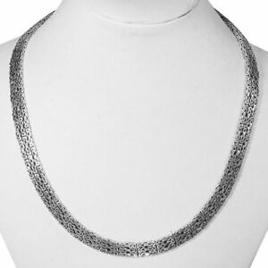 SALE-THREE-ROW-Byzantine-COLLAR-Necklace-925-Sterling-Silver-17-Inch-67-gms