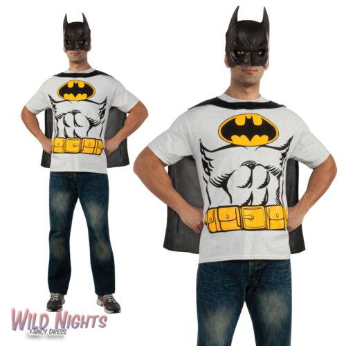 "FANCY DRESS COSTUME ~ MENS DC BATMAN SUPERHERO COMIC T-SHIRT TOP /& CAPE 38/""-46/"""