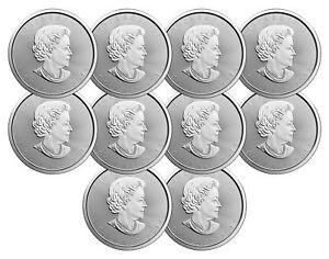 Lot-of-10-2018-5-1oz-Canadian-Silver-Maple-Leaf-Coins-9999-Fine-BU