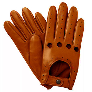 NEW-MEN-039-S-CHAUFFEUR-REAL-LAMBSKIN-SHEEP-NAPPA-LEATHER-DRIVING-GLOVES-TAN