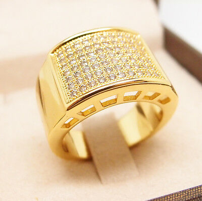 CZ AAA  Micropave 18K Yellow Gold Filled Glint Crystal Men Ring R15 9#-12#